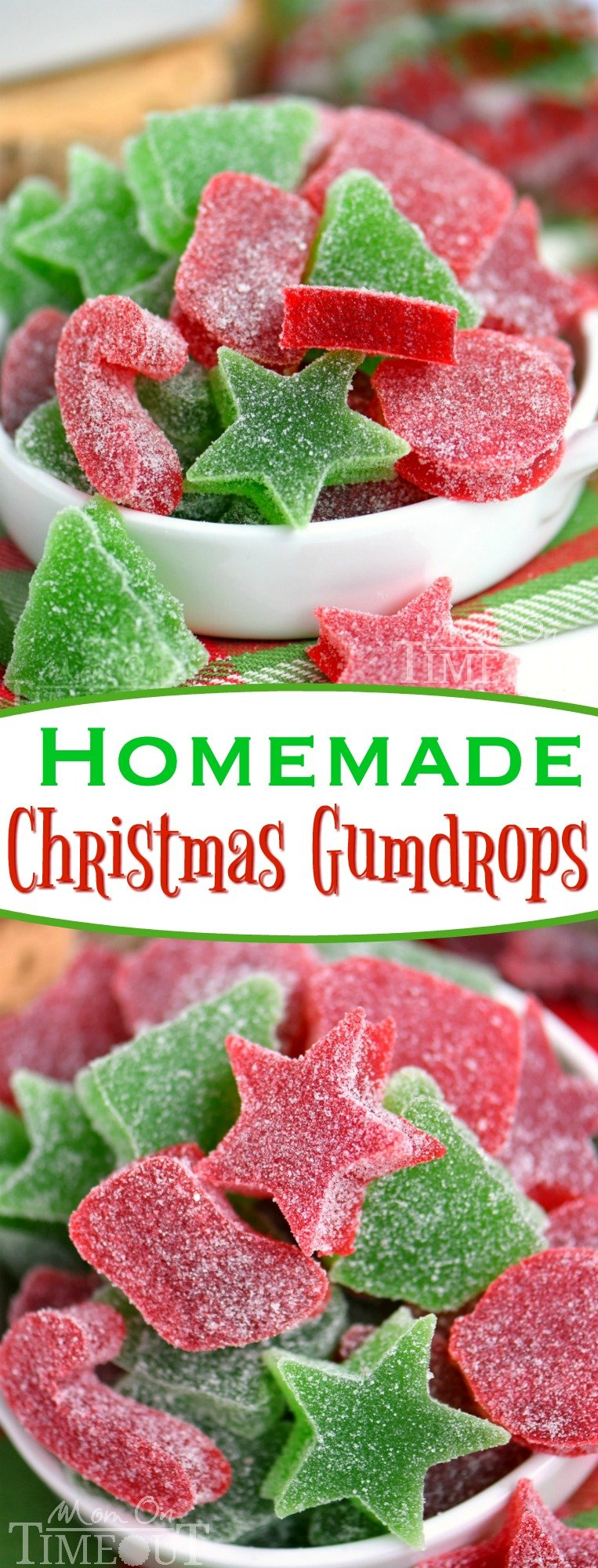 These Homemade Gumdrops are the perfect treat to make for friends and family during the holidays! Made with just a handful of ingredients - including applesauce - these gumdrops are sure to become a holiday tradition! A Christmas favorite with our family! // Mom On Timeout