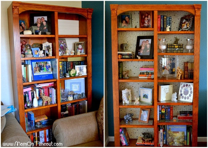 Bookcase Makeover  #MomCave #CBias #SocialFabric