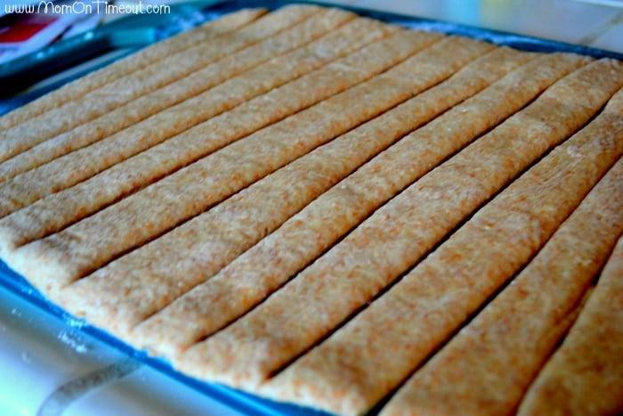 Dough cut into strips