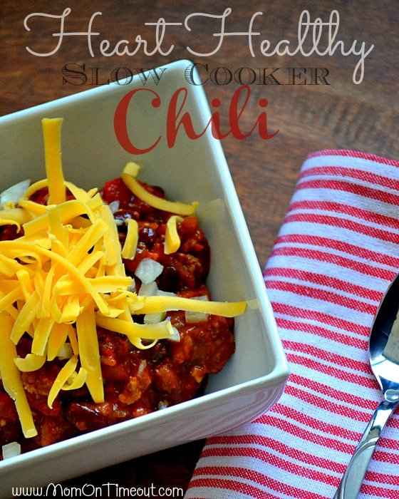 Heart-Healthy Slow Cooker Chili | MomOnTimeout.com #recipe #soup #chili