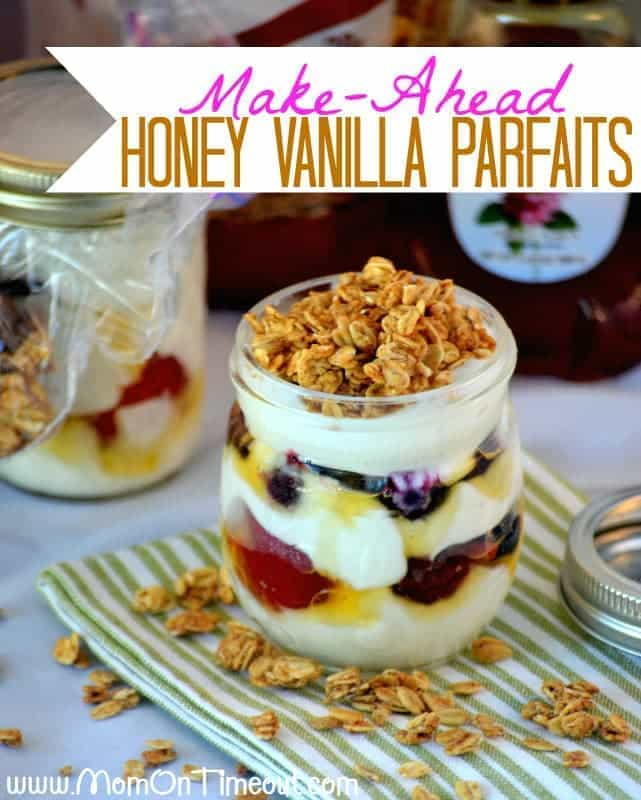 Make-Ahead Honey Vanillas Parfaits | MomOnTimeout.com - Make these parfaits the night before and be ready to roll the next morning.  Delicious and nutritious, they're truly the perfect way to start your day! #recipe #breakfast