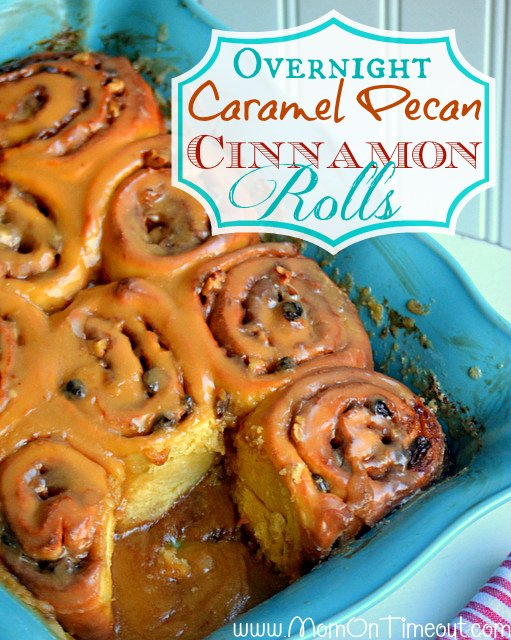 Overnight Caramel Pecan Cinnamon Rolls | MomOnTimeout.com - Make the night before, bake in the morning!  The caramel icing is AMAZING!  #breakfast #recipe