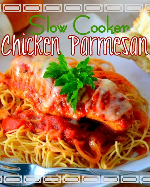 Easy, Cheesy, Slow Cooker Chicken Parmesan | Mom On Timeout - Easy AND Delicious!  The perfect weeknight meal!  #dinner #chicken #recipe #slowcooker