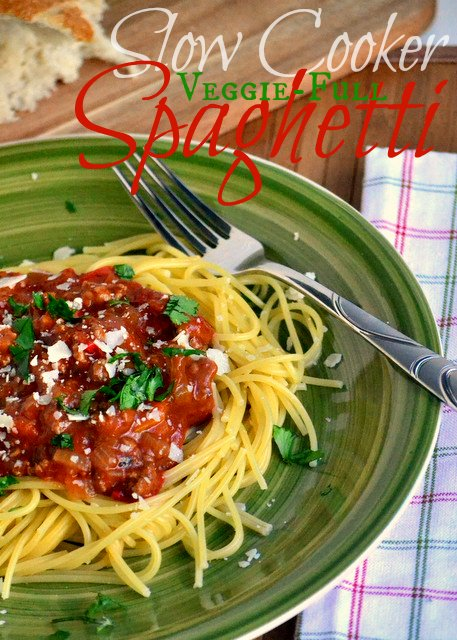 Slow Cooker {Veggie-Full} Spaghetti | MomOnTimeout.com - Let your slow cooker do all the work in this healthy spaghetti recipe! #dinner #slowcooker #spaghetti