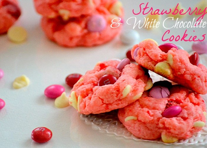 Strawberry Cake Mix Cookies With Chocolate Chips