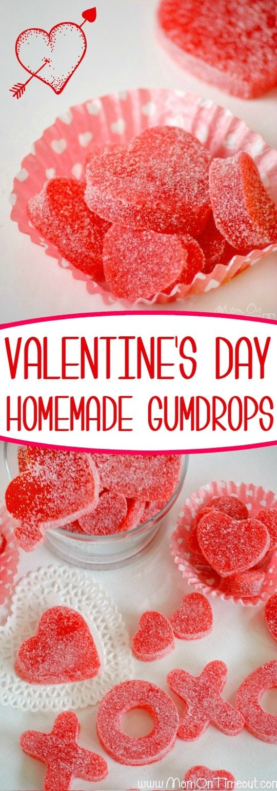 Homemade Valentine's Day Gumdrops - made with applesauce and JELL-O! Easy, delicious, and fun! The perfect Valentine's Day treat!