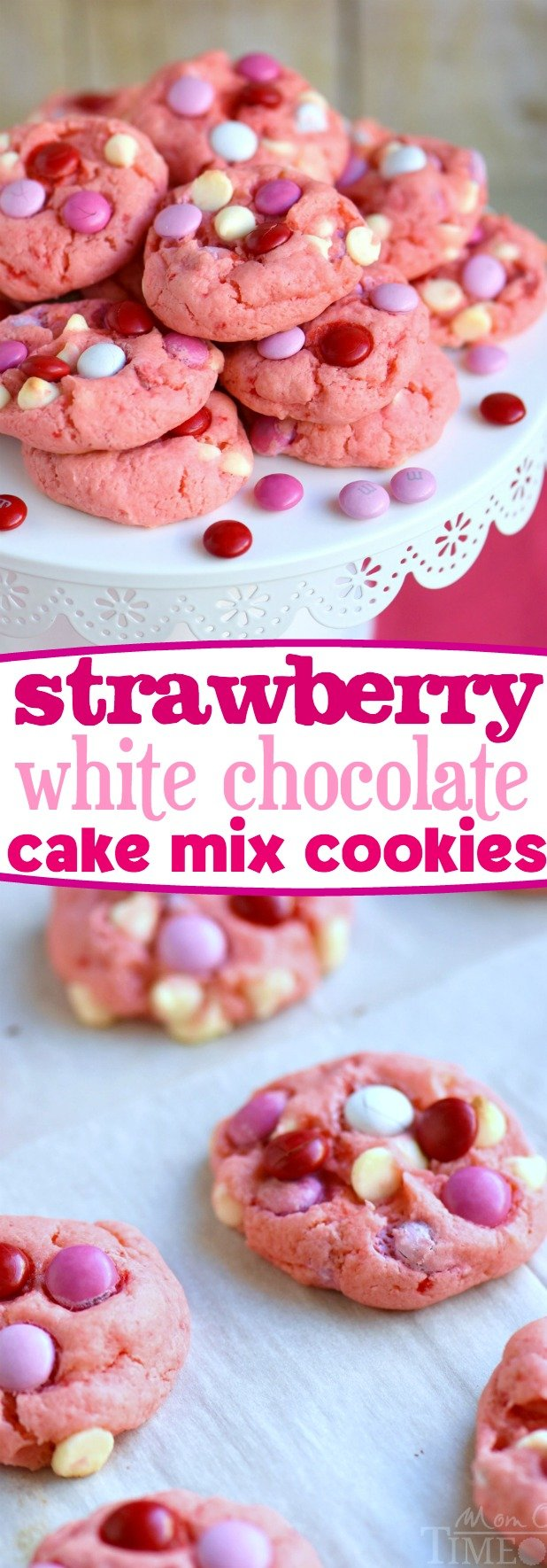 Strawberry and White Chocolate Cake Mix Cookies | MomOnTimeout.com