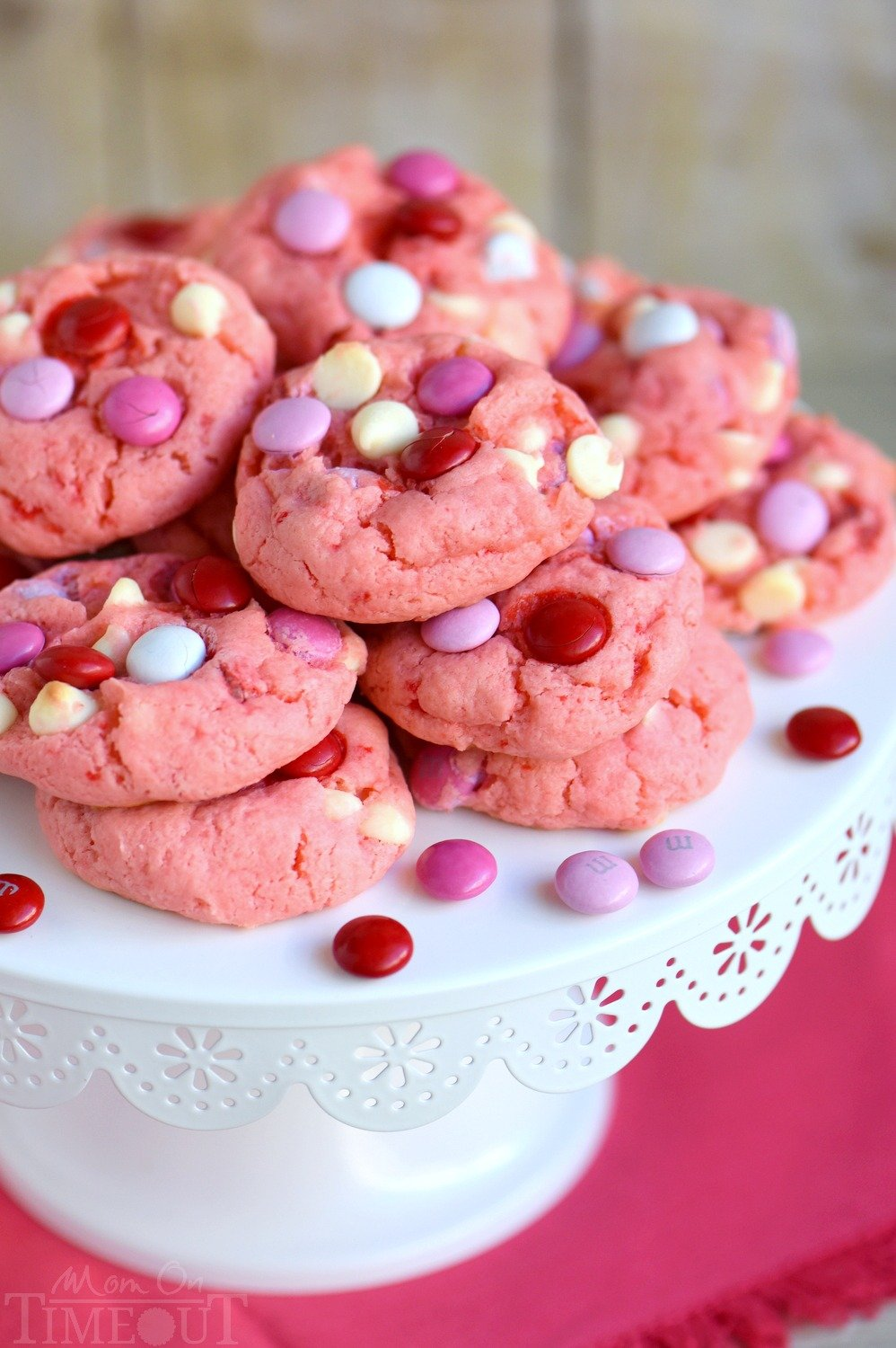 Strawberry White Chocolate Chip Cookies With M Ms