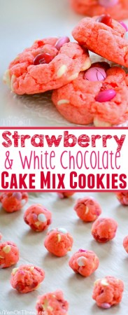 Super moist and delicious Strawberry and White Chocolate Cake Mix Cookies! This recipe uses a SECRET INGREDIENT for the moistest cookies EVER! So pretty and pink! // Mom On Timeout