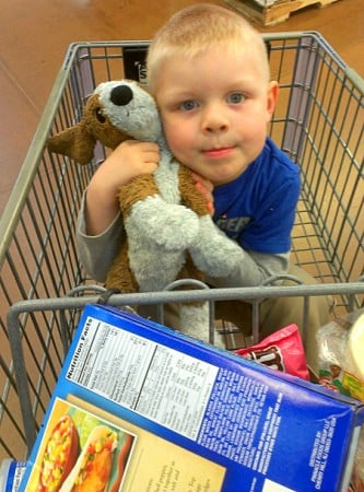 Bryce with puppy shopping at Walmart