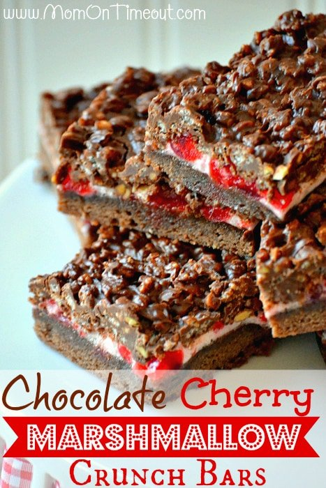 Chocolate Cherry Marshmallow Crunch Bars