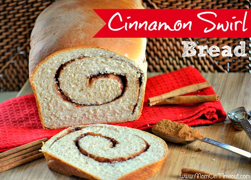 Cinnamon Swirl Bread from MomOnTimeout.com | Perfectly sweet and glorious straight from the oven!  Use the leftovers for french toast this weekend!  #bread #cinnamon #breakfast