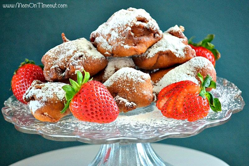 Fresh Strawberry Fritters   MomOnTimeout.com #breakfast #recipe #dessert