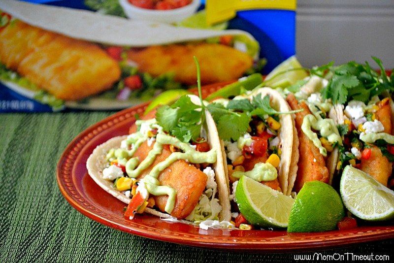 Fish Tacos with Roasted Corn Salsa   MomOnTimeout.com
