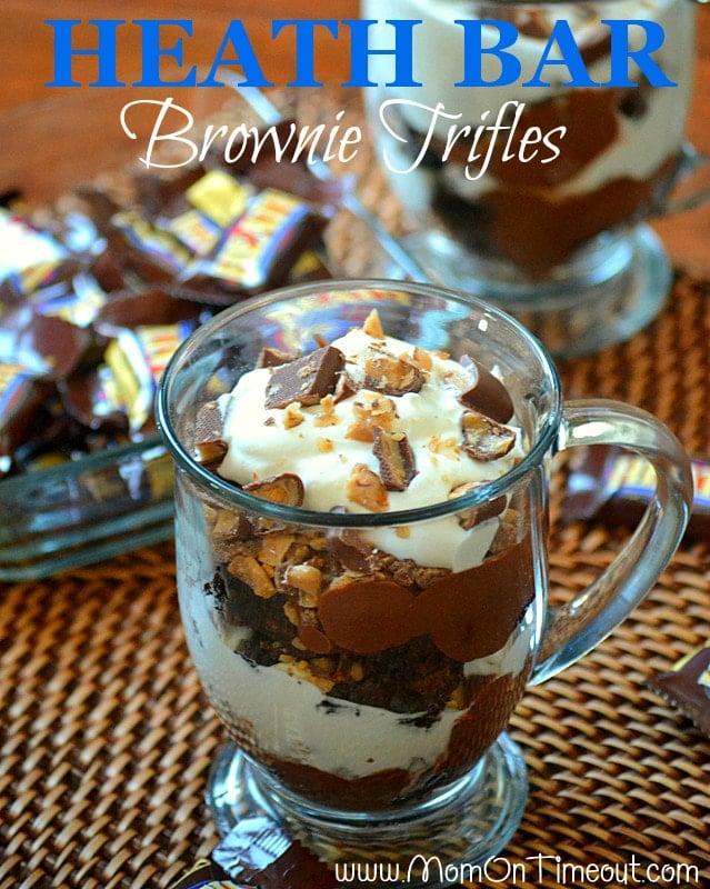 Heath Bar Brownie Trifles | MomOnTimeout.com