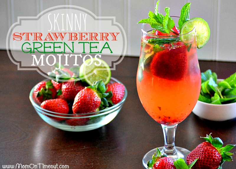 Skinny Strawberry Green Tea Mojitos | MomOnTimeout.com #cocktail #strawberry #recipe #beverage
