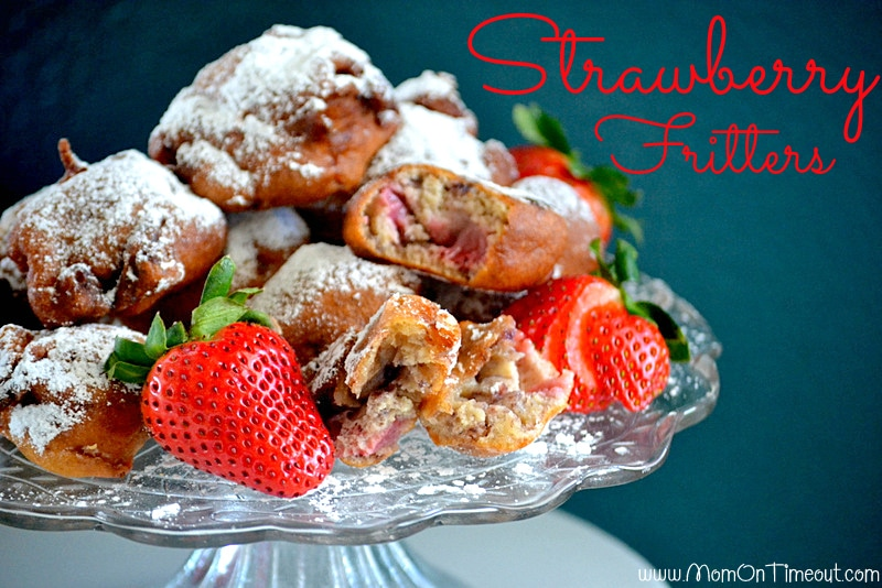 Fresh Strawberry Fritters | MomOnTimeout.com #breakfast #recipe #dessert