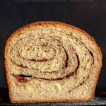 cinnamon bread recipe on rack slice cut
