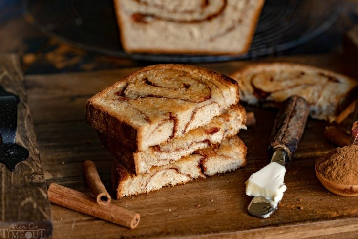 cinnamon bread toasted with butter on board