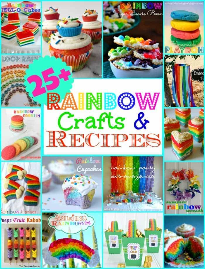 25+ Rainbow Recipes and Crafts | MomOnTimeout.com #cupcakes #crafts #Dessert #kids #rainbow #party