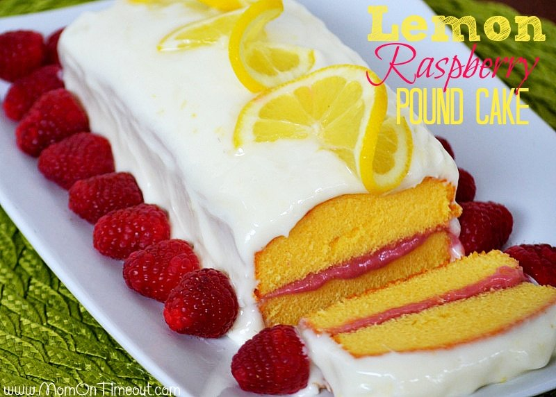 Lemon Raspberry Pound Cake with Lemon Cream Cheese Frosting