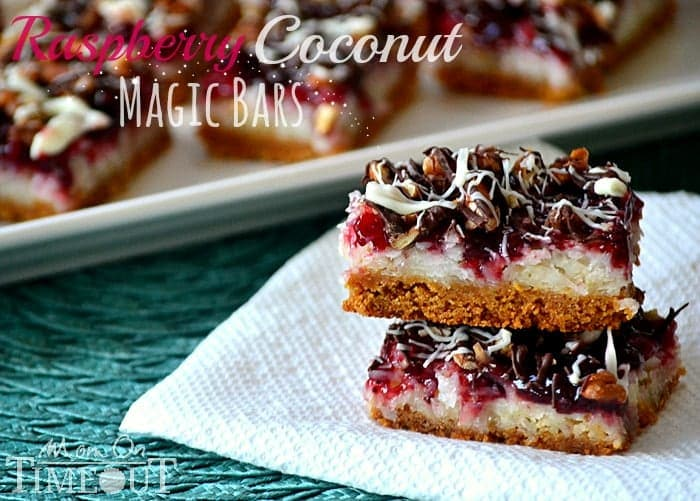 Raspberry Coconut Magic Bars | MomOnTimeout.com A delicious bar for the coconut lover in your life! #coconut #magicbar #bar #dessert #recipe
