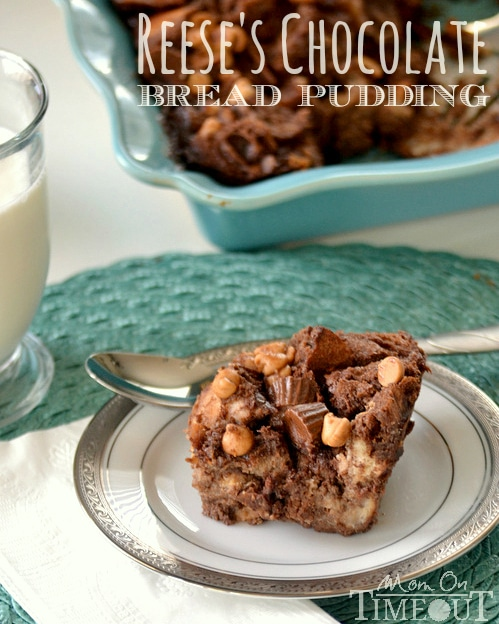 Reese's Chocolate Peanut Butter Bread Pudding | Mom On Timeout - Irresistibly decadent and delicious!