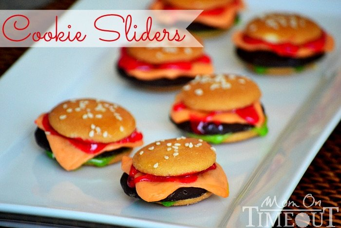 Cookie Sliders That Look Just Like Mini Cheeseburgers | Mom On Timeout - Perfect for April Fool's Day or your next BBQ!