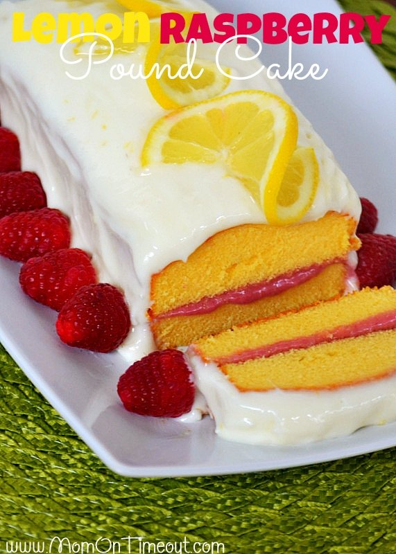 Lemon Raspberry Pound Cake | MomOnTimeout.com - Lemon Cream Cheese Frosting and a Raspberry Filling make this dessert extra special! #lemon #raspberry #recipe #dessert