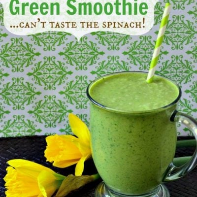 Peanut Butter Banana Green Smoothie | MomOnTimeout.com - The peanut butter and banana mask the taste of spinach so all you end up with a delicious, healthy breakfast! #green #smoothie #breakfast #recipe