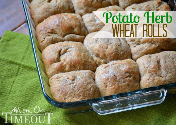 Easy Homemade Potato Herb Wheat Rolls | MomOnTimeout.com A delicious addition to any meal! #rolls #bread #recipe #wheat