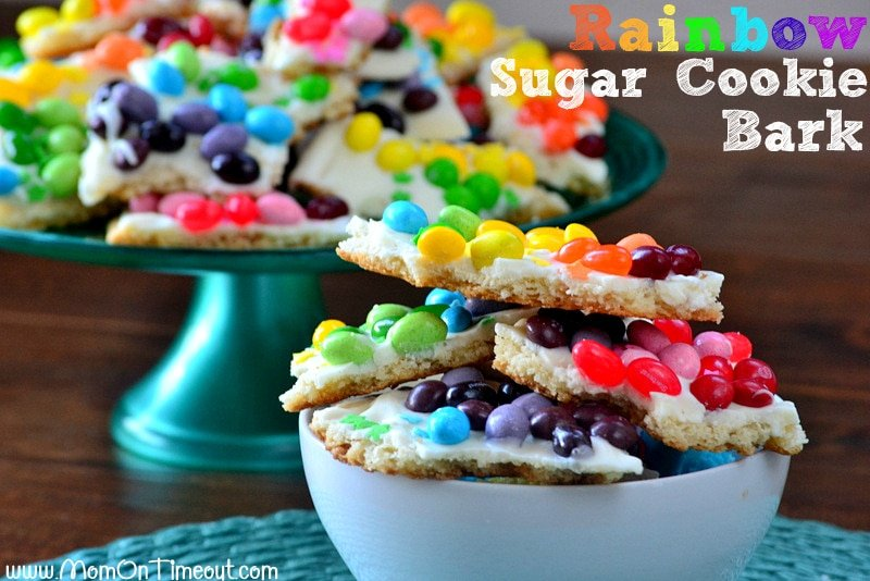Rainbow Sugar Cookie Bark | MomOnTimeout.com Made with refrigerated sugar cookie dough and candy - get ready to taste the rainbow! #rainbow #candy #cookie #bark