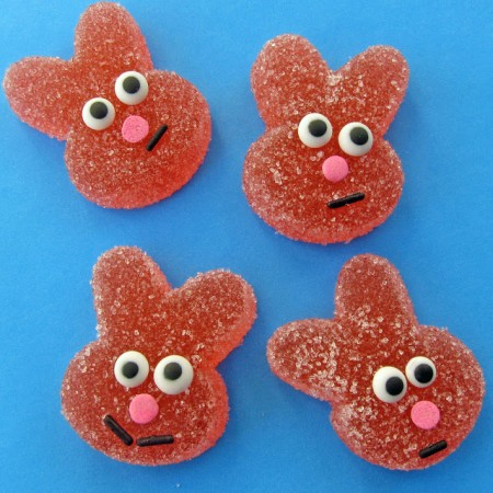 sour bunnies, Easter gummy bunny candies, homemade sour bunnies, sour gumdrop recipe