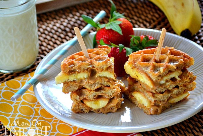 Pin It Now Grilled Peanut Er Honey Banana Waffle Sandwiches