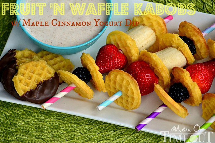 Fruit 'N Waffle Kabobs with Maple Cinnamon Yogurt Dip | Mom On Timeout - The perfect dip for fruit and waffles made with Greek yogurt.