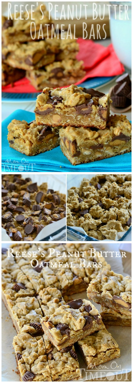 Reese's Peanut Butter Oatmeal Cookie Bars are perfect dessert recipe for the peanut butter lover in your life! Serve with an ice cold glass of milk for extreme satisfaction! | MomOnTimeout.com