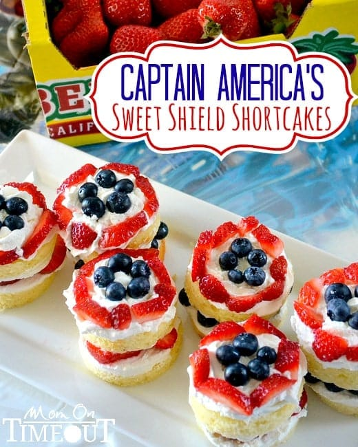 Captain America's Sweet Shield Shortcakes | MomOnTimeout.com #Avengers #Disney #recipe