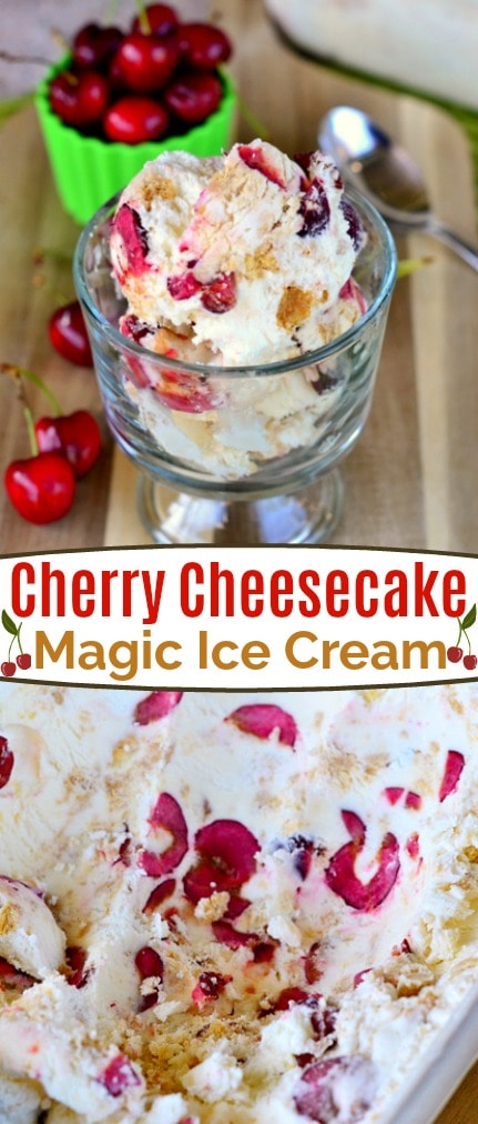 Cherry Cheesecake Magic Ice Cream is the perfect treat on hot summer days! Made with just a handful of ingredients, this easy ice cream recipe doesn't require a machine - it's magic! // Mom On Timeout