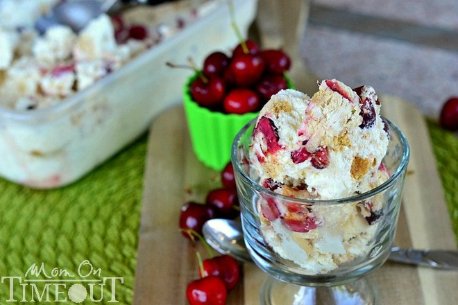 Cherry Cheesecake Magic Ice Cream | MomOnTimeout.com Decadent ice cream made without an ice cream machine.