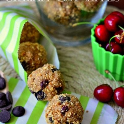Dark Chocolate and Cherry Peanut Butter Oat Bites