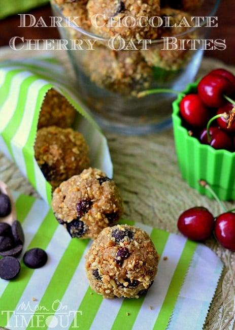 Dark Chocolate and Cherry Peanut Butter Oat Bites | MomOnTimeout.com