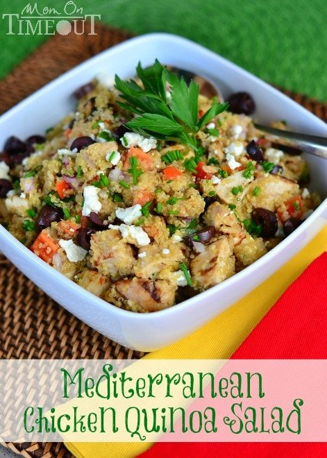 Mediterranean Chicken Quinoa Salad | MomOnTimeout.com A healthy, delicious meal in under 30 minutes!