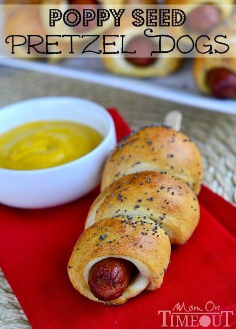 Poppy Seed Pretzel Dogs - Add a stick to make these super kid-friendly! MomOnTimeout.com