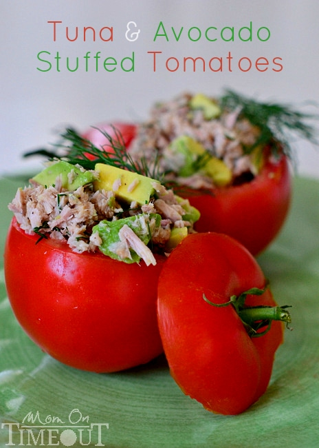 Tuna and Avocado Stuffed Tomatoes make a lighter lunch packed full of nutrients! Easy, healthy and delicious! // Mom On Timeout