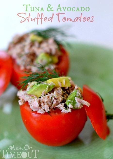 Tuna and Avocado Stuffed Tomatoes | MomOnTimeout.com #healthy #avocado