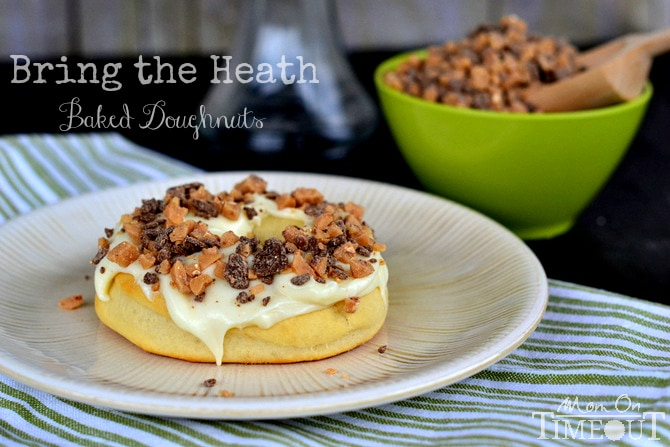Bring the Heath Doughnuts - Gourdough's Copycat from MomOnTimeout.com | A baked yeast doughnut topped with cream cheese frosting and Heath candy pieces.