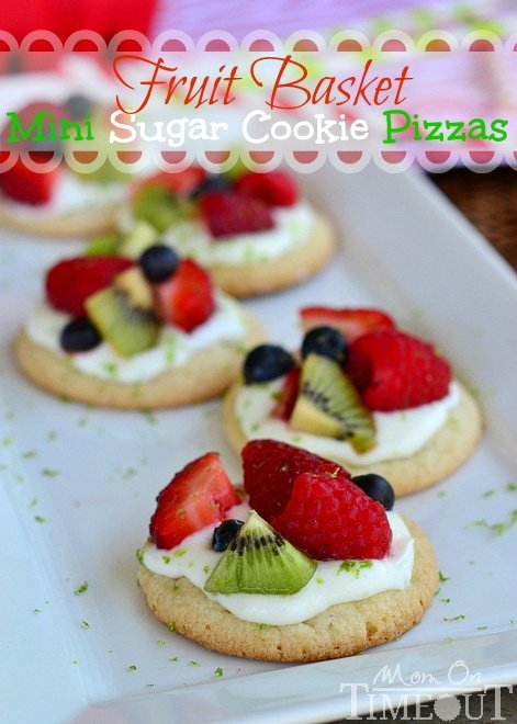 Fruit Basket Mini Sugar Cookie Pizzas - A delicious lime flavored cream cheese frosting brings out the bright flavors of the fresh fruit. Perfect for summer! MomOnTimeout.com