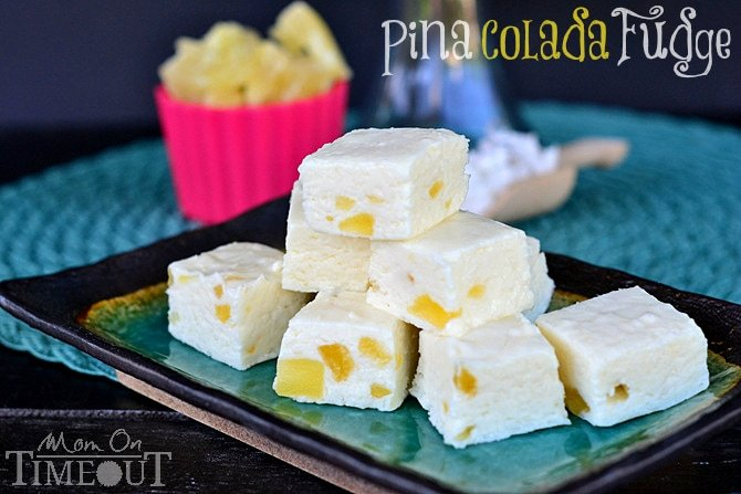 Pina Colada Fudge from MomOnTimeout.com So easy to make and one bite will take you to Pina Colada heaven! #fudge