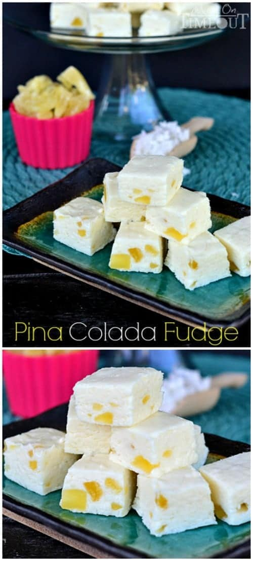 Easy Pina Colada Fudge! This creamy and delicious fudge is so easy to make and one bite will take you to Pina Colada heaven! This fudge is so perfect for summer gatherings or a taste of summer during winter months! Enjoy!