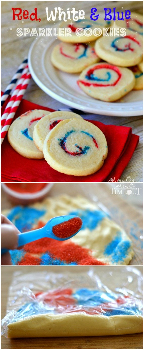 Red, White and Blue Sparkler Cookies are perfect for 4th of July, Memorial Day and more!  MomOnTimeout.com